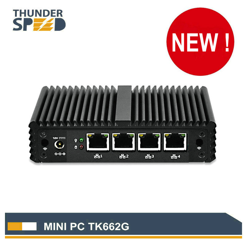 Fanless Mini PC 4 LAN Port Intel J1900 Mini Desktop Computer Barebone 12V Linux Pfsense NUC LAN DHCP DNS Server Firewall Router barebone mini pc desktop computer nano itx j1900 4 lan x86 mini computer pfsense firewall linux fanless pc mini server 190g4