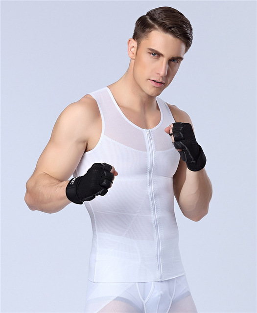50 pçs/lote peitos dos homens NOVOS Sexy Emagrecimento shaper Sem Costura zíper shapewear controle tummy trimmer cintura suporte para as costas camisas