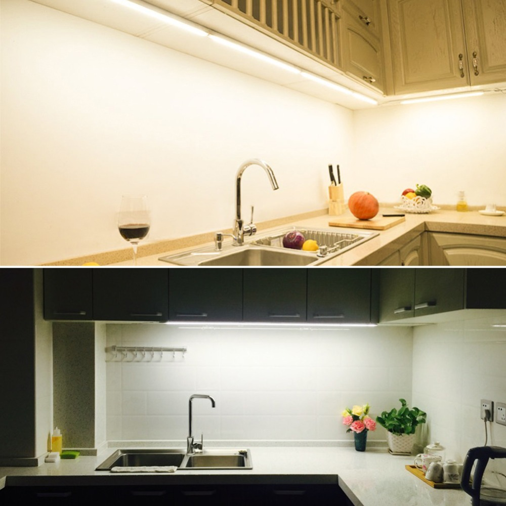 2pcs Dimmable Under Cabinet Strip Lighting7020 7030 9w 50cm Touch Switch Control Kitchen Led Light B Dc12v Rigid Strip Light Led Tube T5 Lamp 220v Led Tube Light 29cm 57cm Led Fluorescent Tube Light Pvc Plastic Lampara Ampoule Led Tube Kitchen Lighting