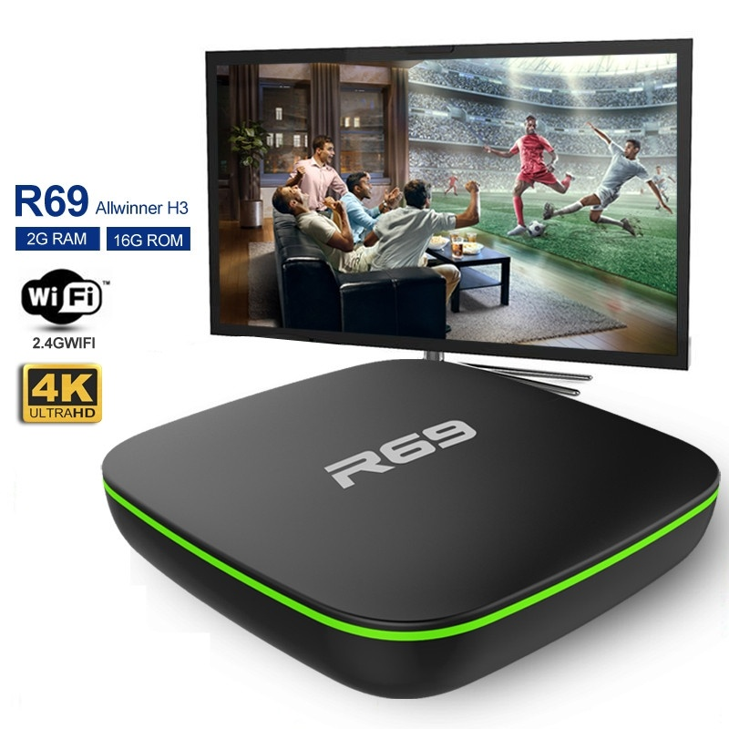 R69 Smart TV Box Android 7.1 1GB 8GB IPTV H3 Quad-Core WiFi 2.4GHz 1G8G Set Top Box 1080P HD Support 3D Movie Media Player