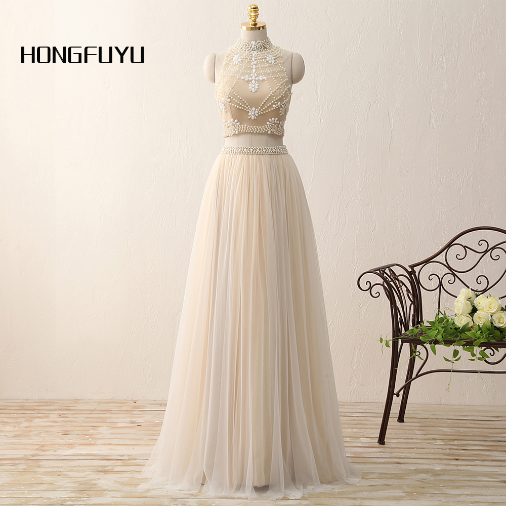 Real Photo Elegant High Neck Tulle Sleeveless A Line Long Prom Dresses 2019 Two Piece Beading