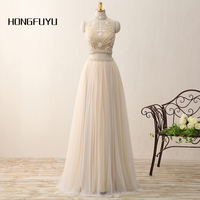 Real Photo Elegant High Neck Tulle Sleeveless A Line Long Prom Dresses 2018 Two Piece Beading Floor Length Party Dress