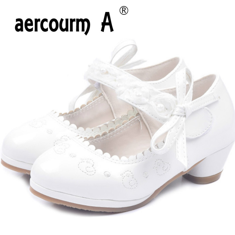 Aercourm A 2018 Children High-heeled Shoes Fashion Princess Shoes Girls White pink Students Perform Shoes Party dance 26-37 бэкон ф новый органон