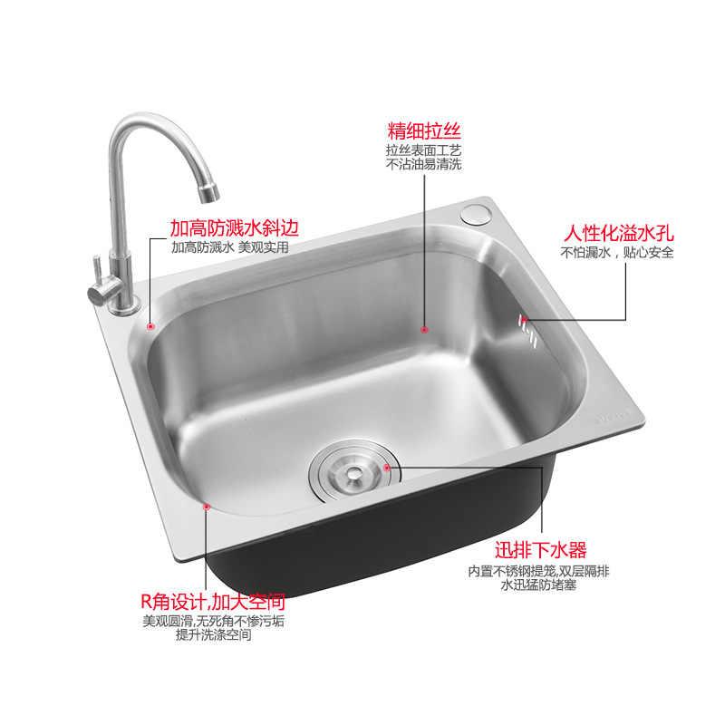 ITAS9939 304 paslanmaz çelik tek kase musluk olmadan fırçalanmış dayanıklı kalınlaşmak pratik mutfak lavabo el yıkama lavabosu