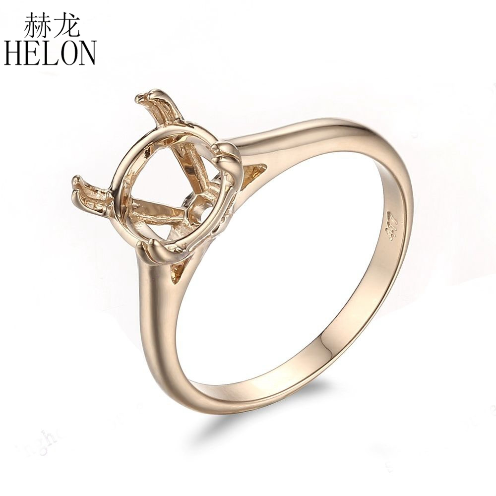 HELON Solid 10k Yellow Gold Solitaire Ring Semi Mount Ring Engagement Wedding Ring 9mm Round Shape Fine Jewelry Gold Ring цена