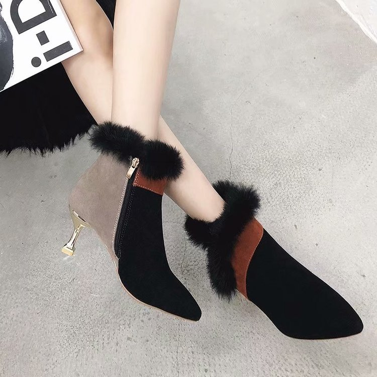 faux fur decoration ankle boots women gold high heeled plush winter booties mixed color suede leather peluche botas mujer s456 43