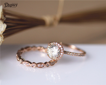DUPUY 14K Rose Gold Engagement Ring Set 6.5mm Round Cut Forever Classic Ring Art Deco Full Eternity Diamonds Wedding Ring Set
