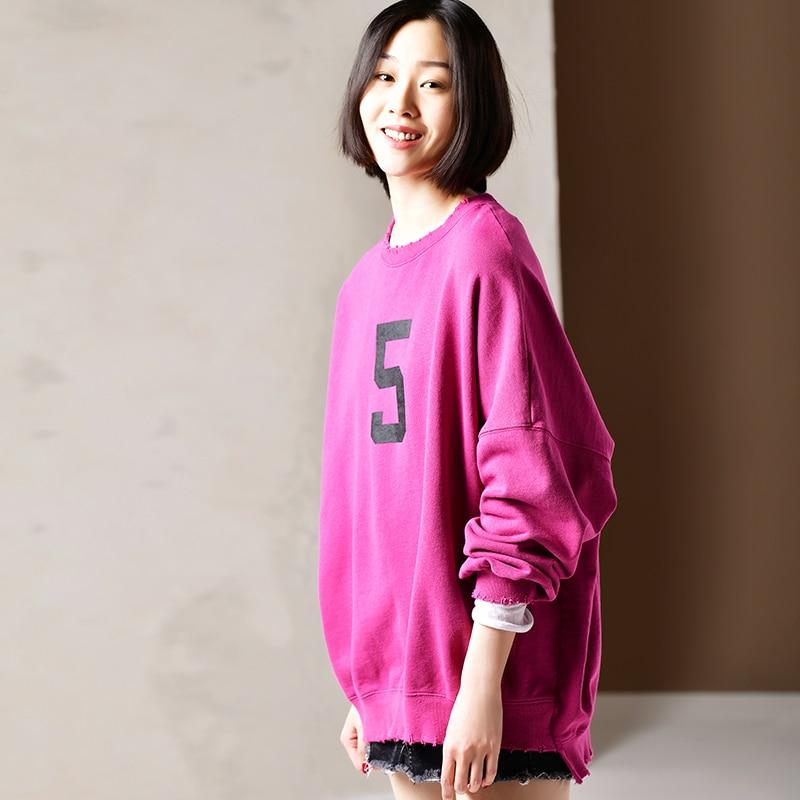 R1963 Literary large size digital circular collar long sleeve loose edge pure cotton hoodies for women