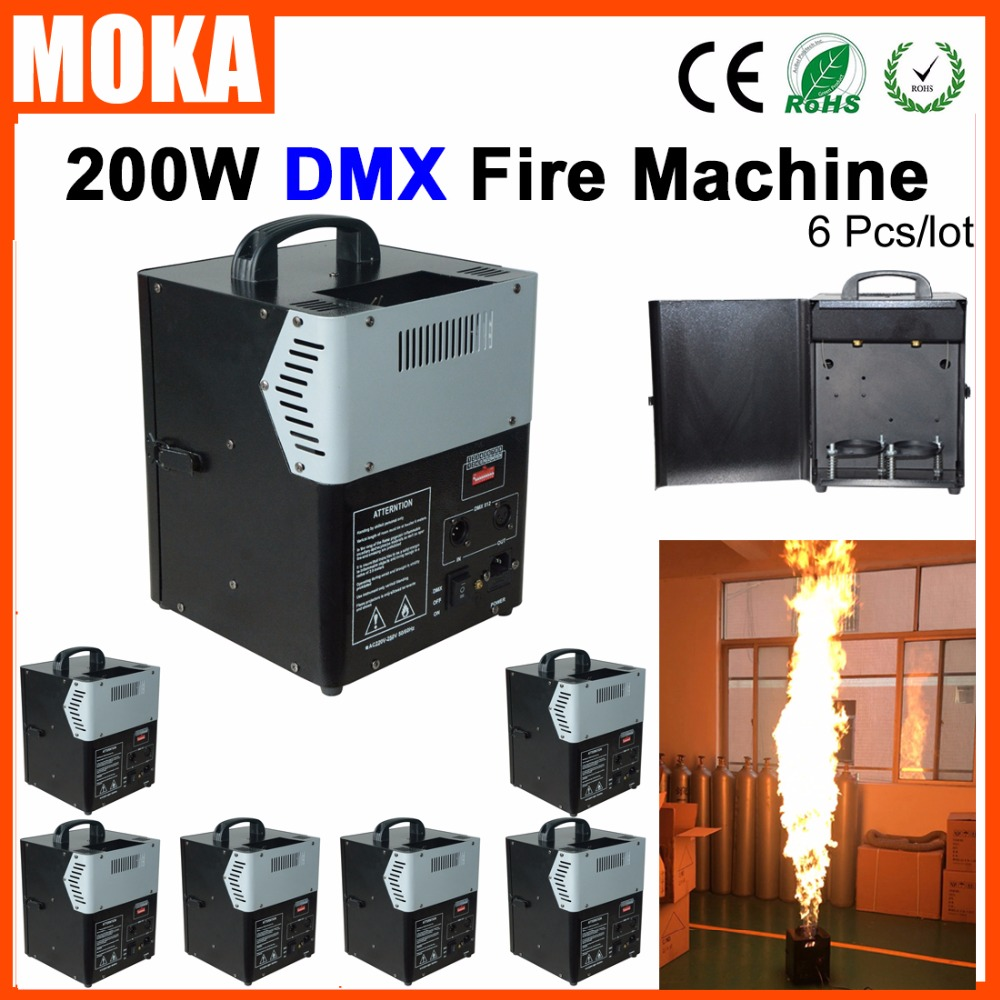 6 Pcs/lot Hot stage fire flame machine dmx512 control artificial flame projector outdoor ...