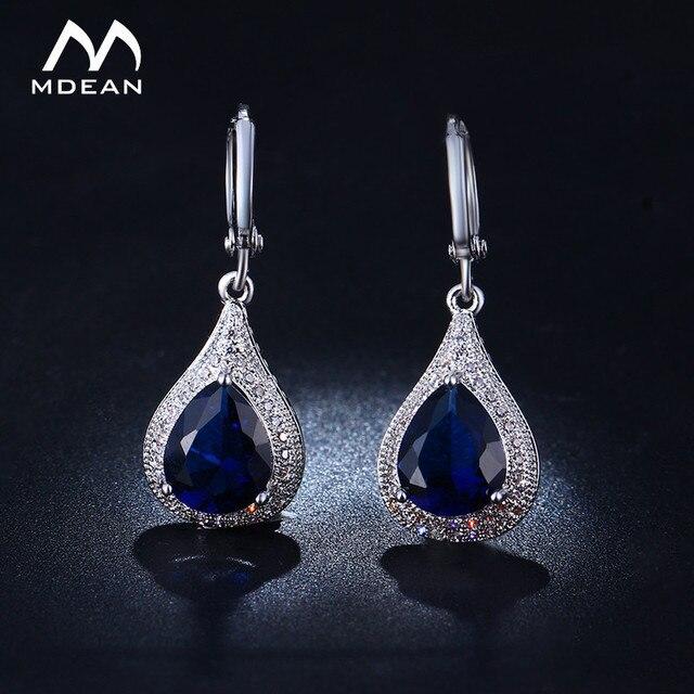 MDEAN White Gold Navy Blue Color AAA Zircon Earrings Hoop Earrings for Women Luxury Style Jewelry MSE020