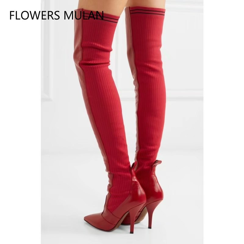 2018 New Sexy Red Patchwork Over The Knee Boots Women Pointed Toe Sheepskin Leather back knitted Stretch Thigh High Boots red sexy stretch waistband tracksuit