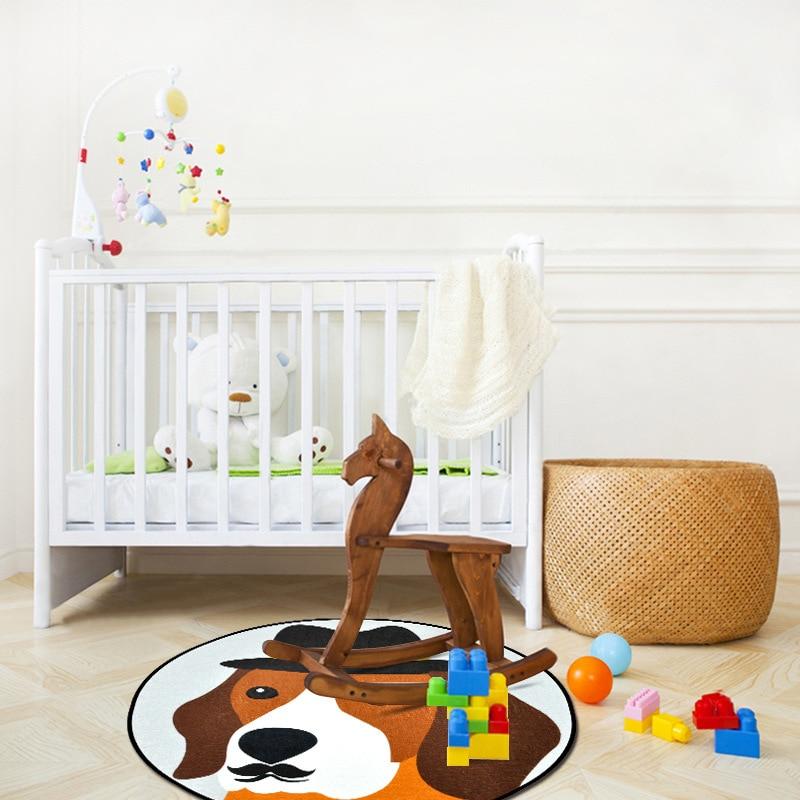 Cartoon Dog Print Round Carpet Doormat Bedroom living room Rug coffee table Hanging basket Chair Mat Kids Room Home Floor Mat