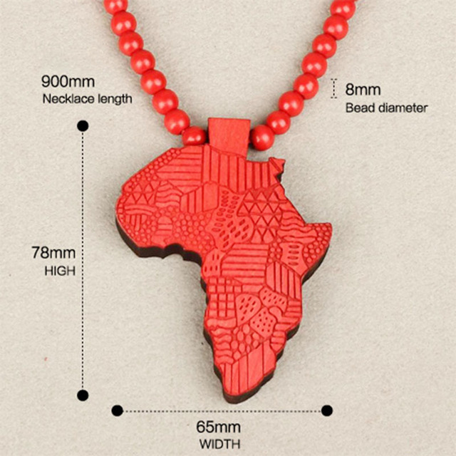 Fashion wood made stylish africa map pendant hip hop beads long fashion wood made stylish africa map pendant hip hop beads long chain men wooden pendants necklaces aloadofball Image collections