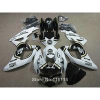 Injection fairing kit for SUZUKI K8 GSXR 600 700 2008 2009 2010 GSXR600 GSXR750 08 09 10 black white LUCKY STRIKE ABS fairings L