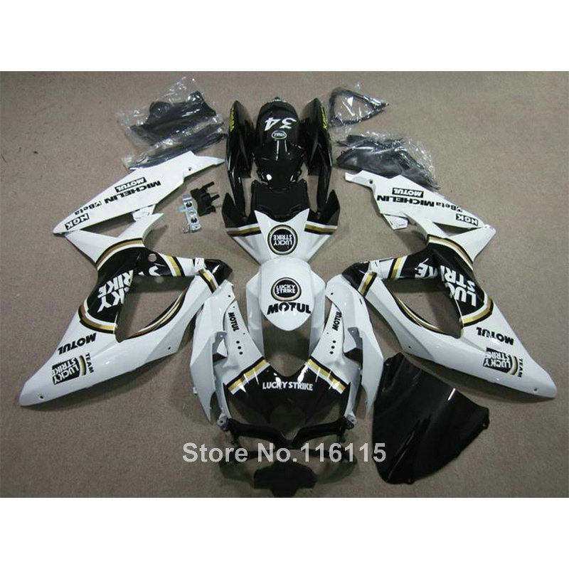 Injection kit de carénage pour SUZUKI K8 GSXR 600 700 2008 2009 2010 GSXR600 GSXR750 08 09 10 noir blanc LUCKY STRIKE ABS carénages L