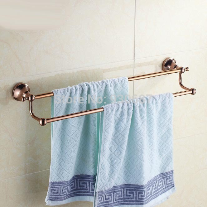 ФОТО Luxury Rose Gold Bath Dual Towel bars Soild Brass Wall Mount Towel Hanger