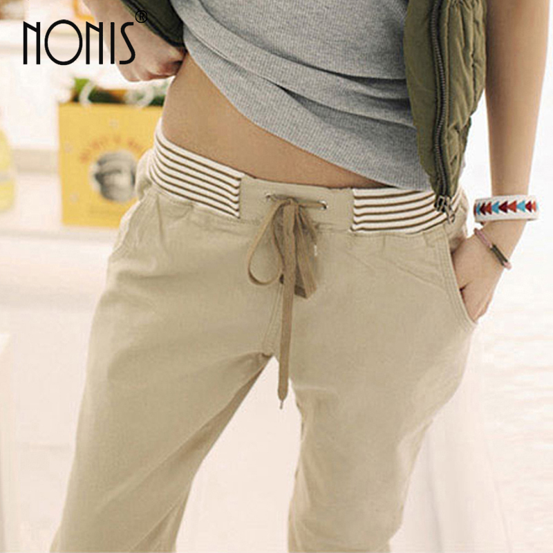 Nonis women New Slim Cotton drawstring Pants Elastic Waist pockets Long Trousers Harem Pant Blue Khaki Apricot