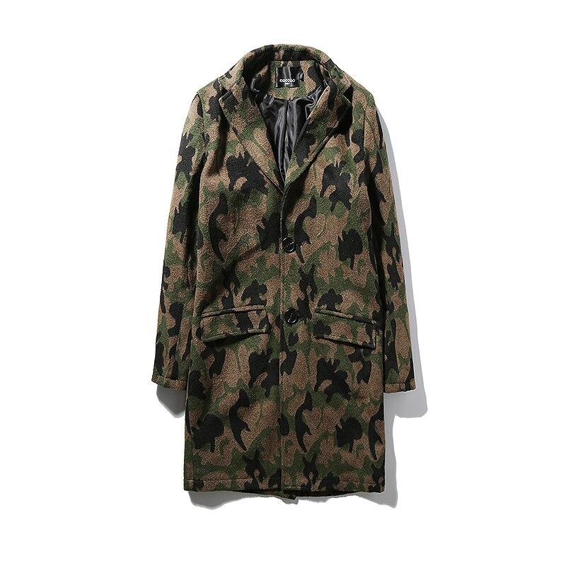Mens Overcoat Long Trench Coat Men 2017 Autumn Camouflage Men Trench Coat Long M-5XL Fashion Wool