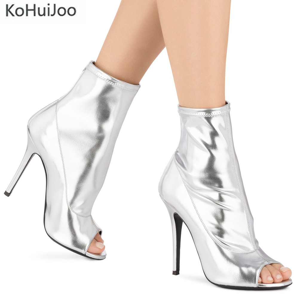 KoHuiJoo 2018 Autumn Spring Sandal Boots Gold Silver Pink Women Shoes Thin Heel High Heels Peep Te Ladies Boots Female Plus Size solid black spring autumn casual women shoes rivets peep toe side zipper thin super high heels women sandal boots free shipping