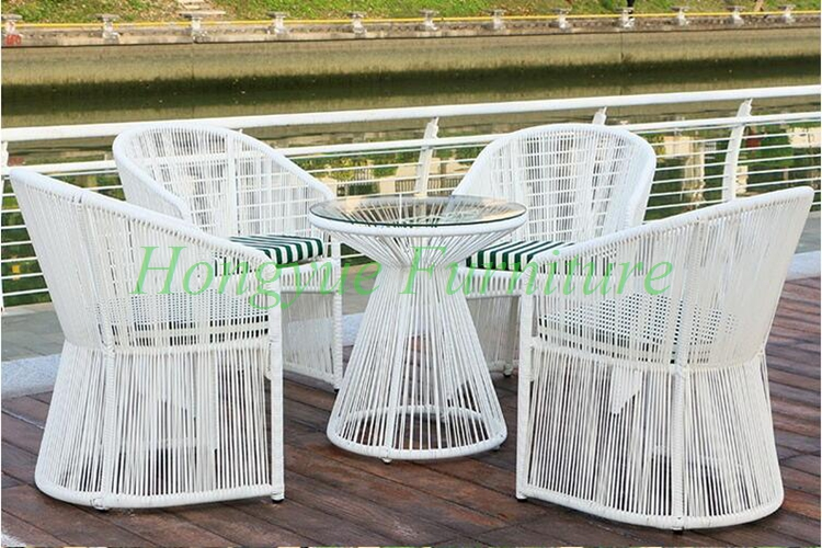 En plein air jardin haute qualité blanc en rotin table ...