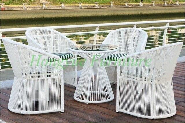 Garten Im Freien Hohe Qualitat Weiss Rattan Tisch Stuhl 4 1 Set
