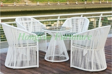 Outdoor  garden high quality white rattan table chair 4+1 set furniture