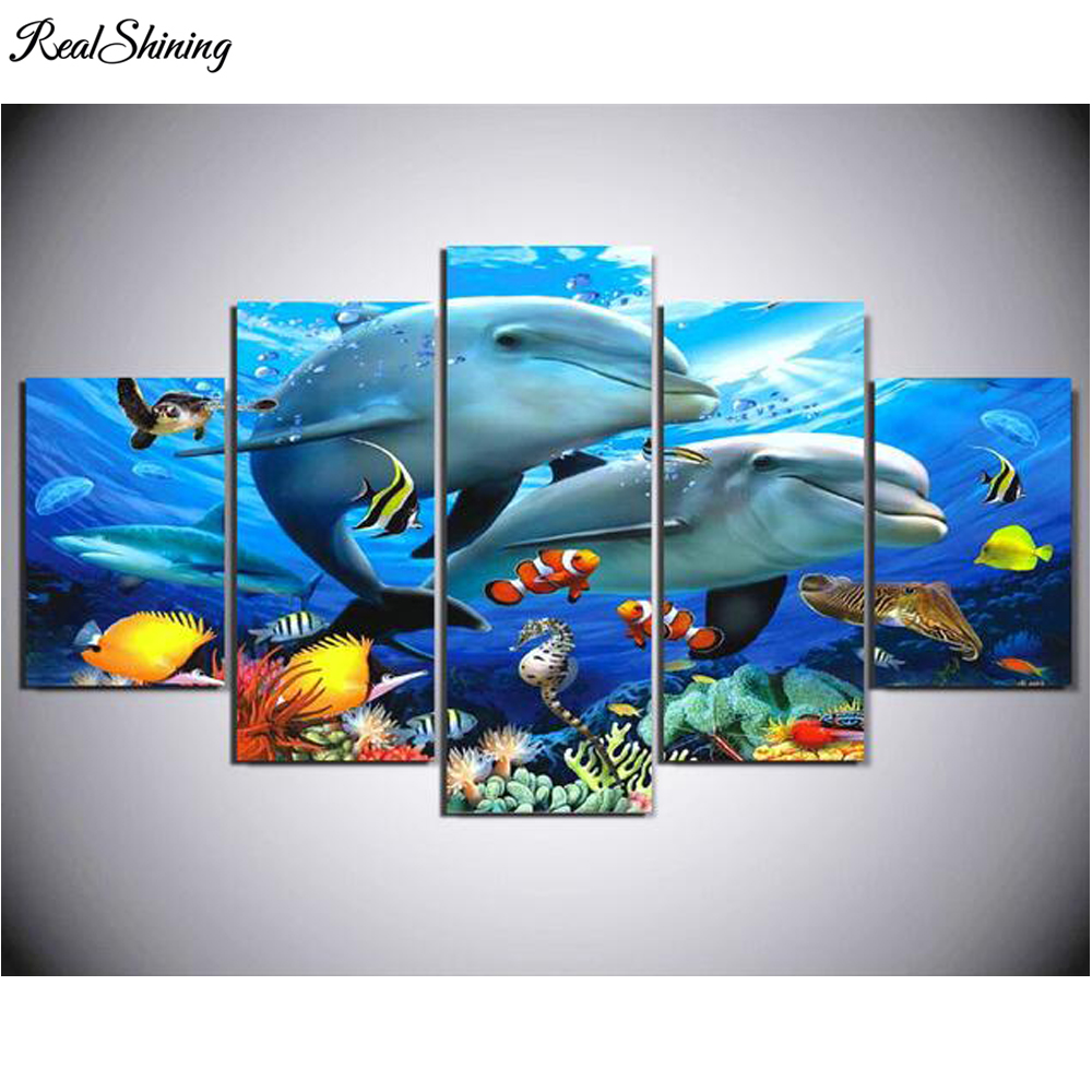 REALSHINING DIY Diamond Painting Cross Stitch Needlework 5D Diamond Embroidery Full Square Home Decorative Ocean Dolphins