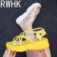 RWHK 2019 summer new Korean version of the muffin thick-soled casual sandals with open toe cross-foot B303
