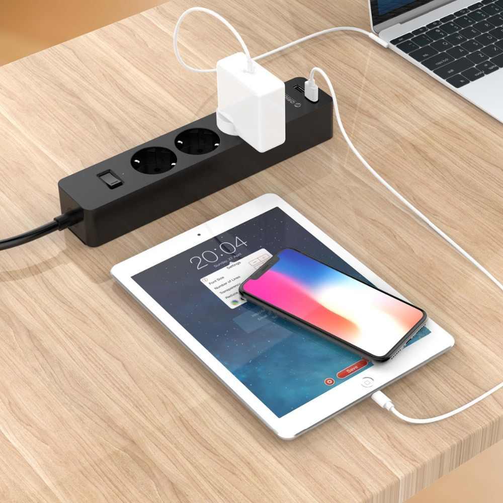 ORICO elektroniczny gniazdo gniazdo listwy zasilającej 3AC 5 gniazdo elektryczne z 2 Port USB inteligentna wtyczka ue rozszerzenie gniazdo do domu handlowego