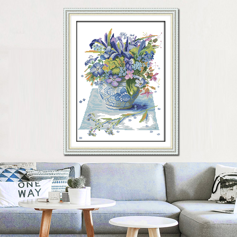 Joy Sunday Blossom cross stitch embroidery set printing cloth embroidery kit cross stitch needlework Flower picture cross stitch in Package from Home Garden
