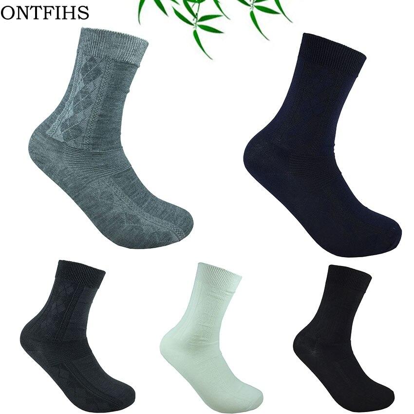 5 Pairs ONTFIHS Male Sock Business Crew Dress Socks Cotton Bamboo Fiber Casual Mens Socks Dress Gentlemen Brand WZ-7