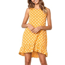 2019 Women summer dress Fashion Sexy Loose Sleeveless Dot Printed All-match Concise Casual