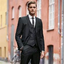 Italy Black Groom Tuxedos Men Suits for Wedding Man Blazers Two Buttons 3Piece Latest Coat Pants Designs Plus Size