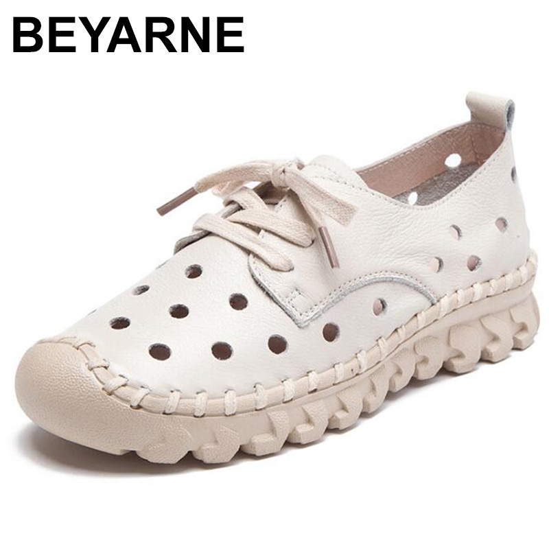 BEYARNE genuine leather ballet flat shoes women