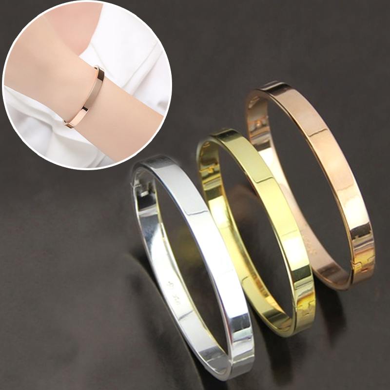 LNRRABC Rose Gold Bracelets Handmade Silver Chain Titanium Steel Smooth Bracelet For Women Bracelets & Bangle Silver Jewelry