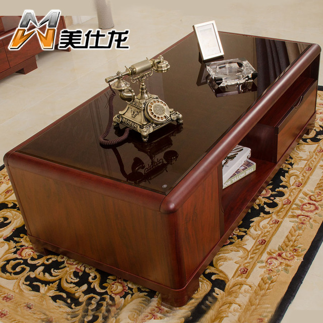 Small Apartment Minimalist Chinese Mahogany Wood Color Paint Positive  Rectangular Coffee Table Combination Package TV Teasideen