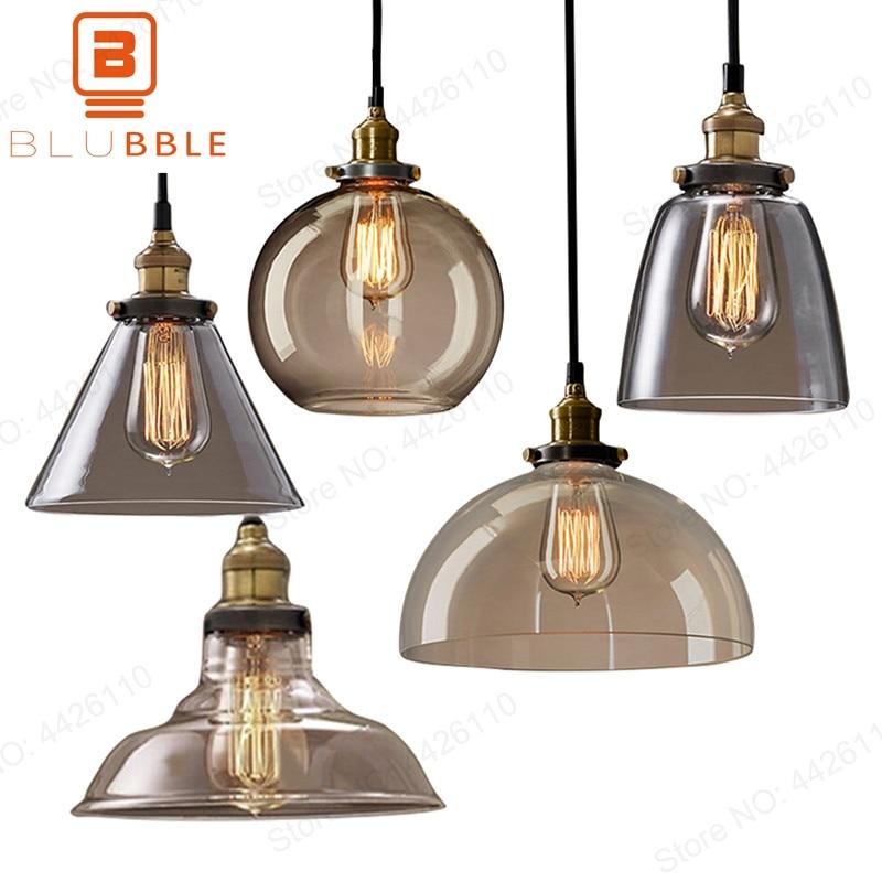Vintage Retro Glass Pendant Lamps Light Nordic Hanglamp
