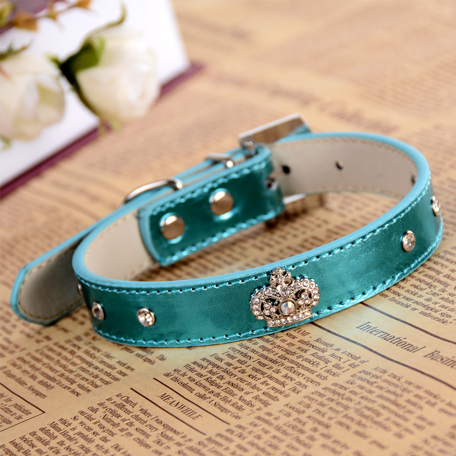 Berlian imitasi Buckle Dog-Collar Kulit Collar Untuk Anjing Rhinestones Crown Charm Pet Dog Supplies