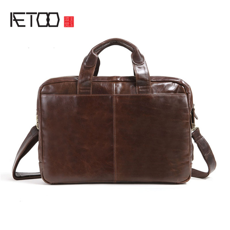 AETOO New oil wax cowhide handy oblique bag men bag briefcase first layer cowhide business computer male