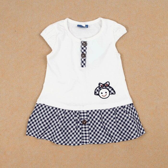 Summer allo lugh female child preppy style 100% cotton short-sleeve dress white 2