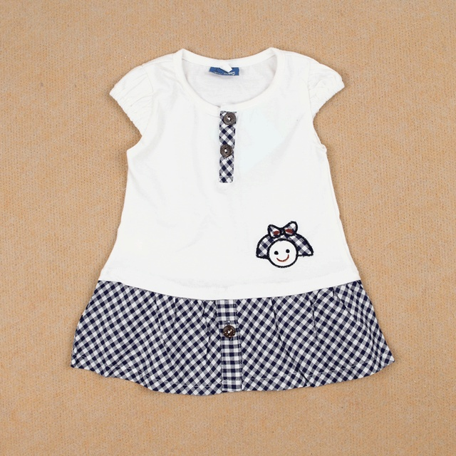 Summer allo lugh female child preppy style 100% cotton short-sleeve dress white 2