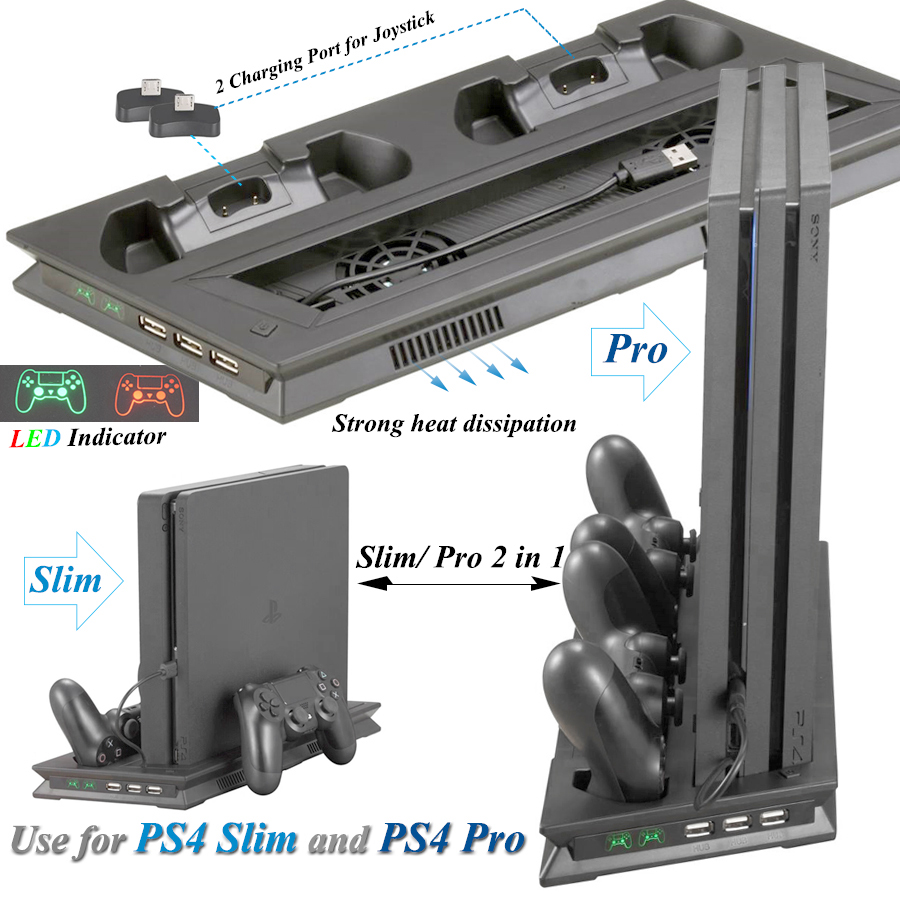 PS4 Slim Pro 2 In 1 Console Cooler Fan Stand with P S4 Controller Charger Dock Station for Sony Playstation 4 Slim Pro Games image