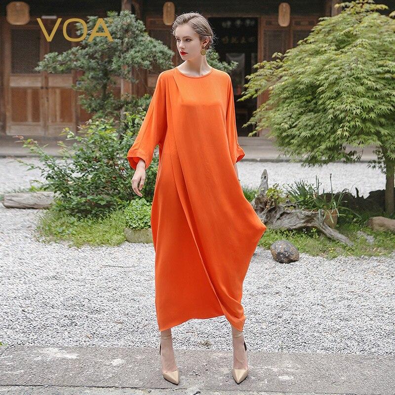 VOA Orange Quarter Length Sleeve Jumpsuits For Women Solid Irregular Loose O-Neck Pants K6323