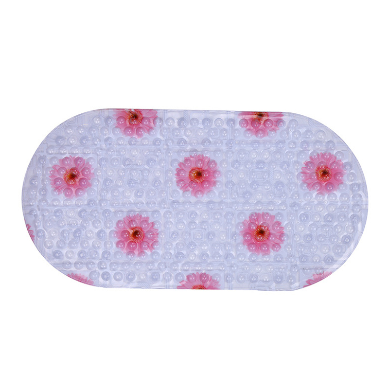 Pastoral Transparent Bath Mats for Shower PVC 3D Floral Printed Mat Anti-Slip Oval Foot Pads Home Bathroom Product