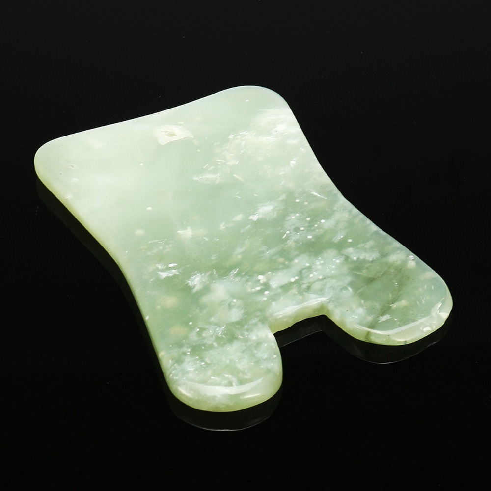 1pcs Natural Green Jade Guasha Board Massage Tool SPA Acupuncture Scraper Stone Facial Anti-wrinkle Treatment Body Health Care 2 pcs natural light green jade s shape guasha board massage tool facial treatment scraping tool for body health care