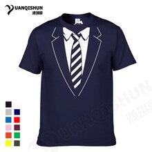 YUANQISHUN Gentleman Style Striped Tie Printing T-shirt Summer High-quality Cotton Tee Interesting Patterns Print Men T Shirt