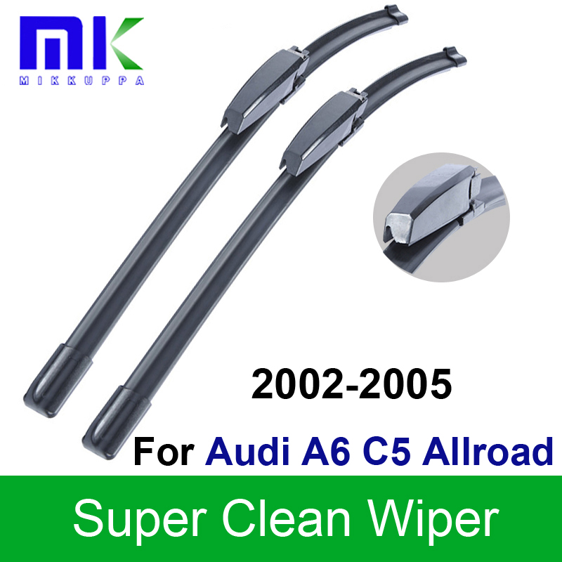 Silicone Rubber Wiper Blades For Audi A6 C5 Allroad 2002 2003 2004 2005 Windshield Windscreen Wiper Auto Car Styling Accessories