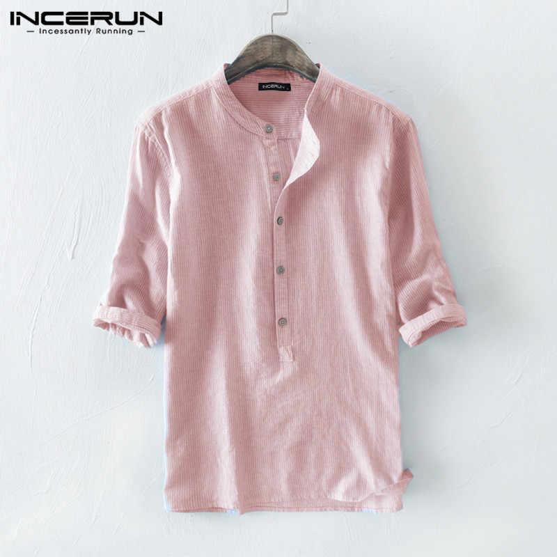 Incerun camisa dos homens listrado algodão respirável 3/4 manga 2020 gola harajuku camisas da marca do vintage masculina chemise streetwear