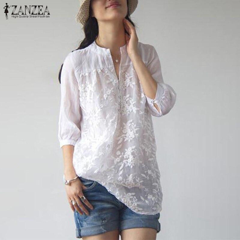 ZANZEA 2018 Autumn Women Casual V Neck Blouse Elegant Blusa Feminina Lace Floral Blusas 3/4 Sleeve White Top Work Office Shirt