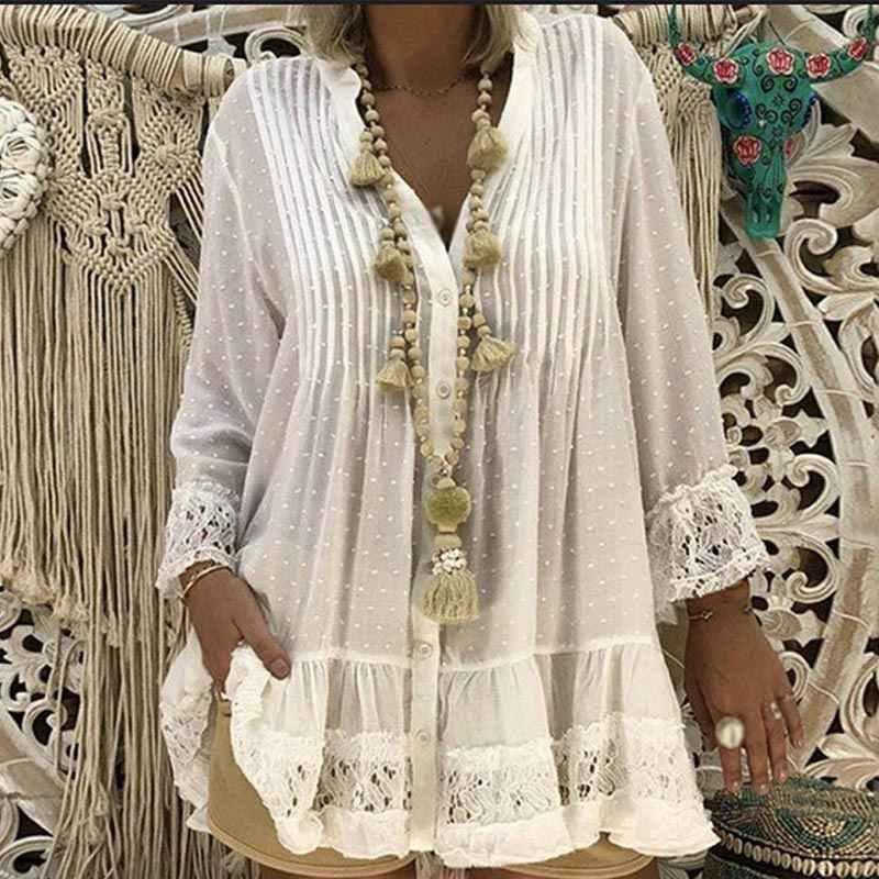 Femmes dentelle mousseline de soie col en v tunique chemise à manches longues solide en vrac femmes hauts et vêtements 2020 printemps été chemises de grande taille